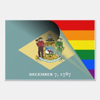 Delaware Flag Gay Pride Rainbow Flag Sign