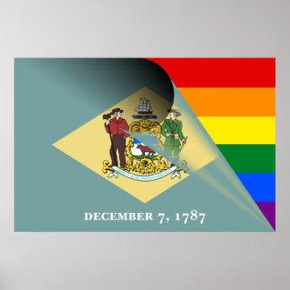 Delaware Flag Gay Pride Rainbow Poster