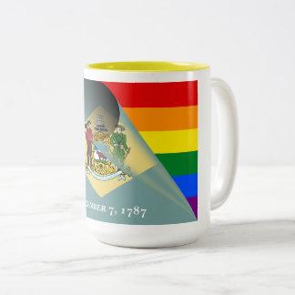 Delaware Flag Gay Pride Rainbow Two-Tone Coffee Mug