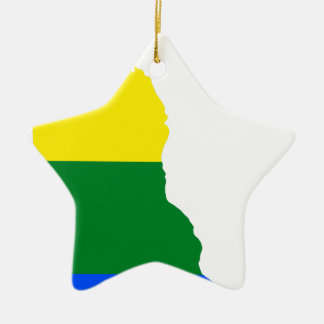 Delaware LGBT Flag Map Ceramic Ornament