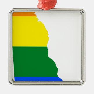 Delaware LGBT Flag Map Metal Ornament
