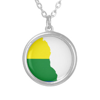 Delaware LGBT Flag Map Silver Plated Necklace