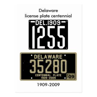 Delaware license plate centennial postcard