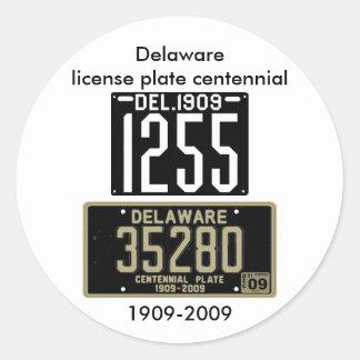 Delaware license plate centennial round sticker