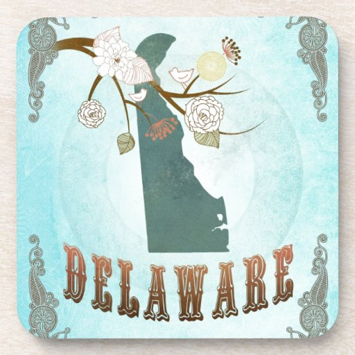 Delaware Map With Lovely Birds Beverage Coasters