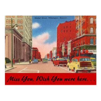 Delaware, Market Street Postcard