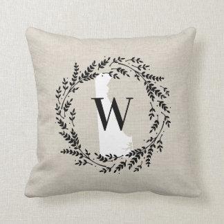 Delaware Rustic Wreath Monogram Throw Pillow