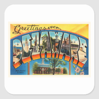 Delaware State DE Old Vintage Travel Postcard- Square Sticker