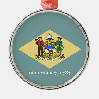 Delaware state flag usa united america symbol Silver-Colored round ornament
