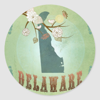Delaware State Map – Green Round Sticker