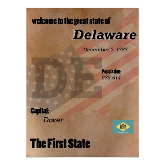 Delaware The First State Classic Poster