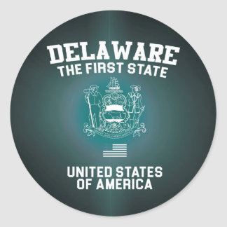 Delaware The First State Round Sticker