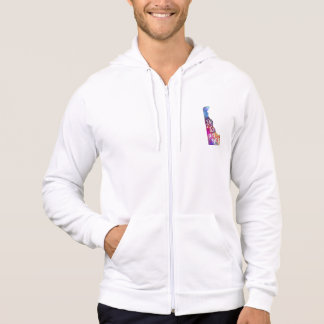 Delaware U.S. State in watercolor text cut out Hoodie
