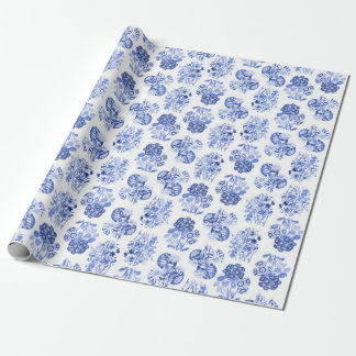Delft Blue Floral Wrapping Paper