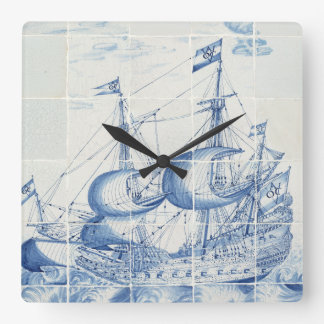 Delft Blue tile design clock