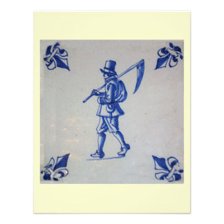 Delft Blue Tile - Mower Carrying Scythe or Sickle Invitations