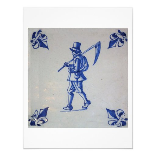 Delft Blue Tile - Mower Carrying Scythe or Sickle Announcement