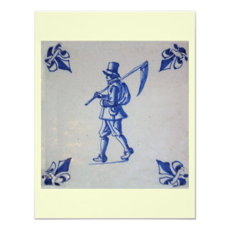 """Delft Blue Tile - Template 4.25"""" X 5.5"""" Invitation Card"""