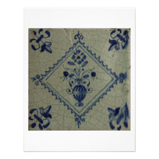 Delft Blue Tile - Vase with Flowers and Bouquet Personalized Announcement