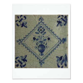 """Delft Blue Tile - Vase with Flowers and Bouquet 4.25"""" X 5.5"""" Invitation Card"""