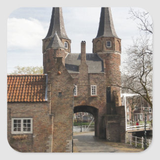 Delft, canals and city gateway square sticker