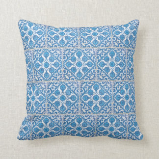 Delft Cornflowers Blue White Faux Tile Pillow