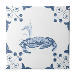 Delft Crab Tile with Scroll Corners