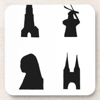 Delft dark silhouette drink coaster