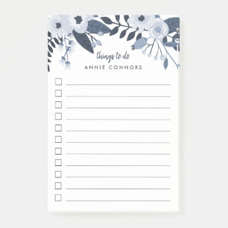 Delft Floral | Personalized To Do List Post-it Notes