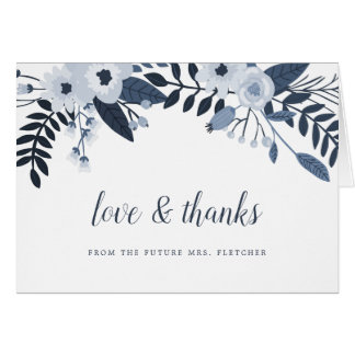 Delft Floral Thank You Card