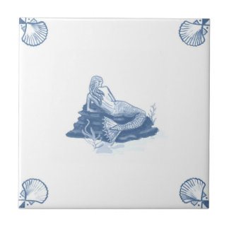 Delft Mermaid Tile with Shell Corners