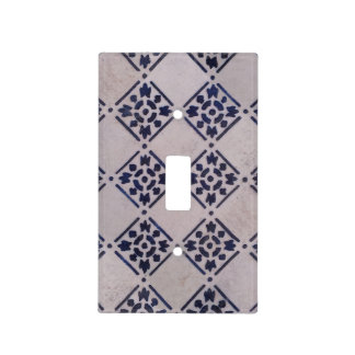 Delft Tile Vintage Blue White Art Print Pattern Light Switch Cover