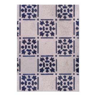 Delft Tile Vintage Blue White Art Print Pattern Magnetic Card