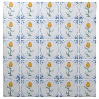 Delft Tulips Faux Tile Napkins