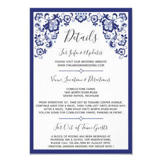 Delfts Blauw   Delft Blue Dutch Wedding Details Card