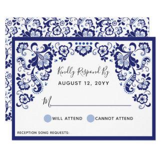 Delfts Blauw   Delft Blue Dutch Wedding RSVP Card