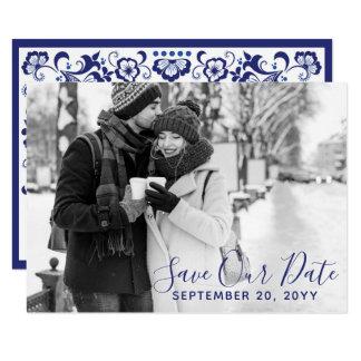 Delfts Blauw   Delft Blue Save The Date Photo Card