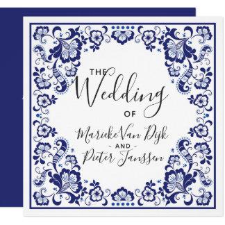 Delfts Blauw   Delft Blue Tile Wedding Invitation