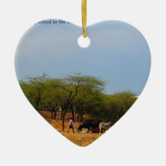 Delhi Metro development  animals natives to brink Ceramic Heart Ornament