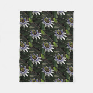 Delicate and Beautiful Passiflora Flower Fleece Blanket