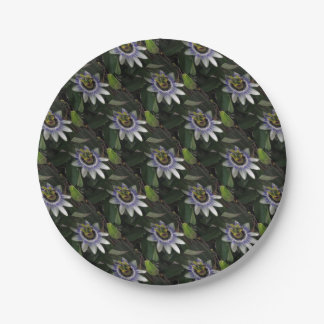 Delicate and Beautiful Passiflora Flower Paper Plate