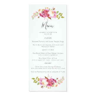 Delicate and Dreamy Bouquet Wedding Menu Card
