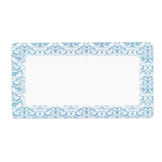 Delicate and Feminine Teal Blue and White Damask