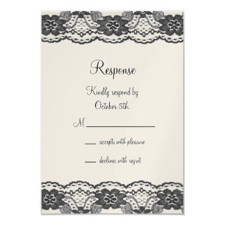 Delicate and Lacy RSVP - champagne Card