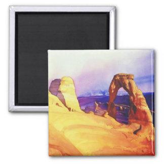"""""""Delicate Arch"""" Desert Scene Watercolor Square Magnet"""