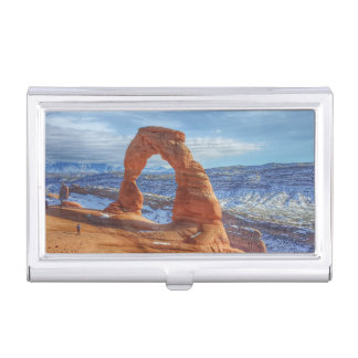 Delicate arch in Utah Arches National Park Business Card Holder