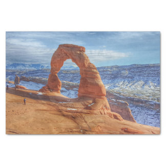 Delicate arch in Utah Arches National Park Tissue Paper