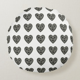 Delicate-Black-Crochet-Hearts(c)Round Round Pillow