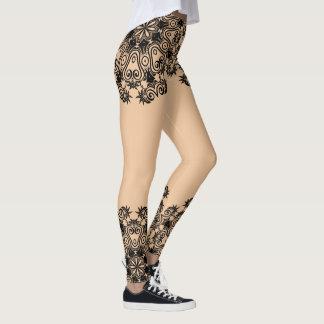 Delicate Black & Nude Mandala Leggings