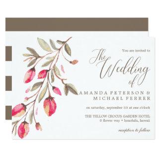 Delicate Bloom typography rustic wedding Card